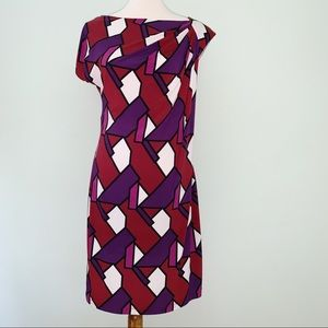 Bisou Bisou Geometric Print Dress Size 8